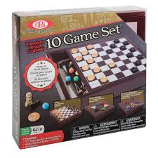 Wooden Box Board Games Premium Wood Box 100 Game Set Family Game Set by Ideal 95