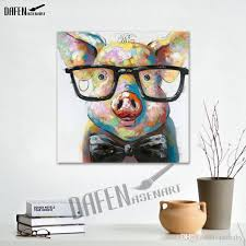 2018 animal oil painitng cartoon cute pig 100 hand painted abstract painting unframed canvas wall art picture living room decor from petbaby  on pig canvas wall art with 2018 animal oil painitng cartoon cute pig 100 hand painted abstract