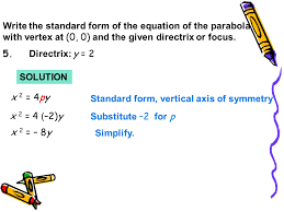 write the standard form of the equation of the parabola with vertex at 0