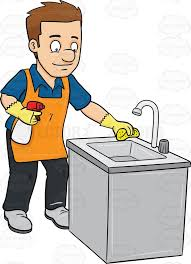 clean kitchen clipart black and white. Interesting White A Man Polishing The Kitchen Sink Clip Art Black And White On Clean Clipart Black And White C