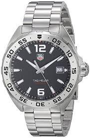 tag heuer men s 41mm steel bracelet case swiss quartz black dial tag heuer men s 41mm steel bracelet case swiss quartz black dial analog watch waz1112 ba0875 amazon co uk watches