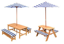 kids sized wood outdoor picnic table umbrella set