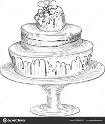 Birthday Cake Sketch Isolated On White Background Stock Vector