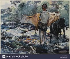 brooklyn museum boy with cows john edward costigan stock image