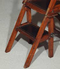 english antique victorian folding library steps chair for