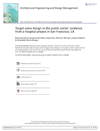 Target Value Design Pdf Target Value Design In The Public Sector Evidence From
