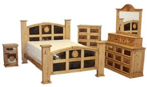 Rustic bedroom furniture sets King Mansion Rustic Bedroom Set With Cowhide And Stars Von Furniture Von Furniture Mansion Rustic Bedroom Set With Cowhide And Stars