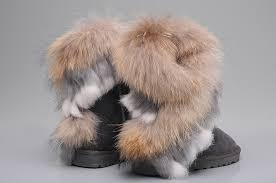 ... UGG 8288 Fox Fur Short Boots For Women in Gray ...