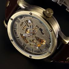 online buy whole bronze watch men from bronze watch men vintage bronze automatic watches men skeleton brown leather strap mechanical male clock relogio masculino mens wrist