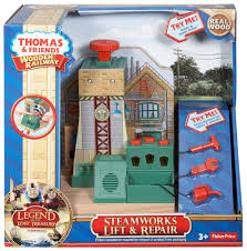 thomas the train wooden railway steamworks lift and repair train set