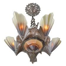 antique art deco slip shade soleure 6 light chandelier circa 1930s ant 430 for
