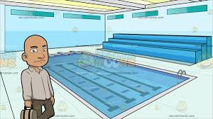 A Bald Man With A Bag At Indoor Olympic Size Swimming Pool Cartoon