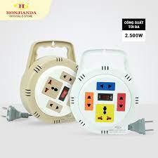 Ổ cắm điện tròn xoay tay Honjianda 2.500W dây kéo dài 5m/10m - Mã 082/083R  giá rẻ