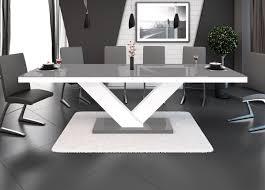 Design Esstisch Tisch He 999 Grau Weiß Hochglanz Ausziehbar 160 Bis 256 Cm