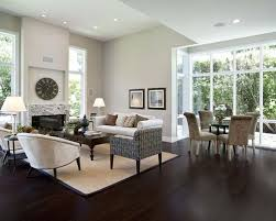Marvelous Contemporary Open Concept Dark Wood Floor And Brown Floor Living Room Idea  In San Francisco With