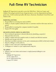 Rv Technician Resume Writing Essays College Of Humanities Intranet University Of 23
