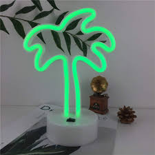 Palm Tree Night Light Qunlight Neon Night Light Palm Tree Shaped With Green Lamp Usb Battery Powered No Heat Table Lamp Decoration For Wedding Sign Birthday Party Kids
