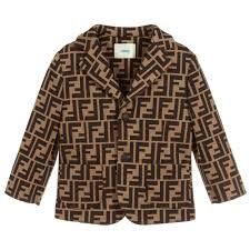 Boys Designer Blazer Beige Brown Jersey Blazer