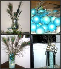 Marvelous Decoration Ideas With Peacock Home Accents Interior Design :  Artistic Blue Bauble And Peacock Feather