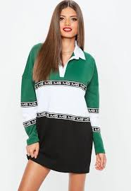 missguided green mg colourblock rugby shirt dress sporty dresses