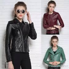 2019 black red green fashion motorcycle genuine leather jacket women s street slim sheepskin leather coats women oblique zipper england s 2xl from