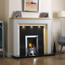 iowa grey wooden fire surround with lights