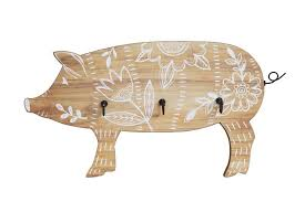 wall decor pig w 3 metal hooks white fl design