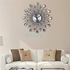 modern large diy wall clock 3d diamond metal wall sticker home decor art 1 1 of 11free