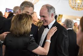 hopping through white house correspondents dinner parties house minority leader nancy pelosi of california speaks pennsylvania sen bob casey right