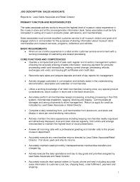 Job Description Of Sales Associate For Resume Resume Paper Ideas
