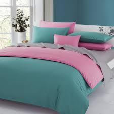 3pieces color pink brown solid duvet cover