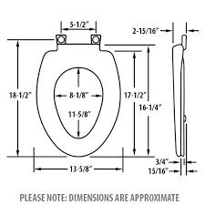 bemis elongated toilet seat dimensions