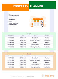 Trip Itinerary Builder Itinerary Planner Template Pdf Templates Jotform