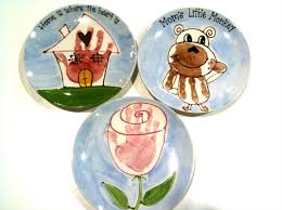 we have a large assortment of pottery for you to choose from as well as our something s afoot plates custom plates designed with your child s hand or