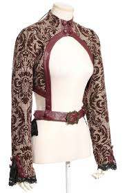 Bolero Jacket Pattern Beauteous Brown Jacket Bolero Vintage Pattern With Lace And Straps Steampunk