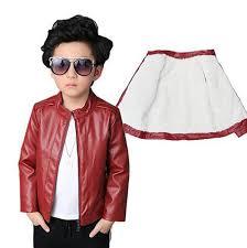 cool kids boys warm leather jacket fleece lined
