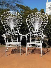 wrought iron vintage patio furniture. A Pair Of 5 Ft Tall Wrought Iron Peacock Chairs By Salterini, These Were Vintage Patio Furniture N