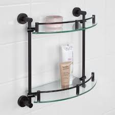 made of durable solid brass and tempered glass this shelf promises to last 920446signature hardware bathroom shelves 89 95