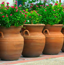 Fascinating Garden Decoration With Various Big Plant Pots : Fascinating  Accessories For Garden Decoration Design Using