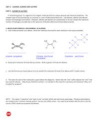 Alkanes Alkenes Alkynes Chart Alkenes Alkynes Packet With Homework Answers