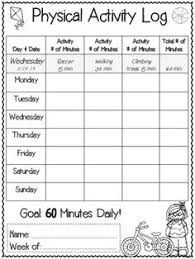 Physical Activity Log Template Food Intake Log Template Daily Diary