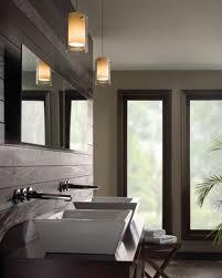 Bathroom: Modern Bathroom Lighting In Brown Themed Bathroom With ...