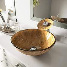 4.7 out of 5 stars 4. Vigo Vessel Sink Wooden Glass Vessel Round Bathroom Sink With Faucet Drain Included 16 5 In X 16 5 In In The Bathroom Sinks Department At Lowes Com