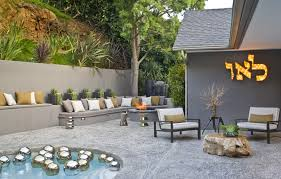 modern design outdoor furniture decorate. Awesome Retro Style Terrace Design Small Pool Gray Concrete Fence Combined With Modern Outdoor Furniture Decorate