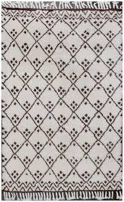 hind beni ourain moroccan rug ivory brown wool rug 19063