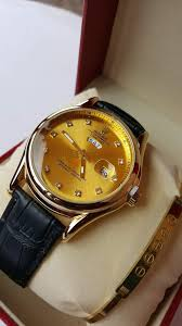 home timepieces men s watches leather watches rolex oyster perpetual datejust 36mm with hoee leather strap gold watch