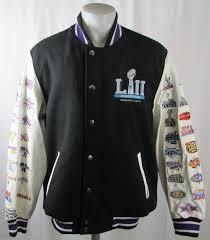 super bowl lii men s wool leather patch jacket nfl m l xl 2xl 3xl 4xl flawed