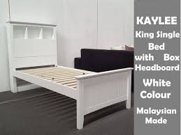 picture of kaylee king single bed with box headboard in white