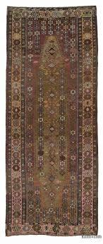 brown vintage kars kilim rug 4 8 x 11 4 56 in x 136 in