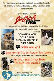 jim grizzle tire donate to hope humane society drive